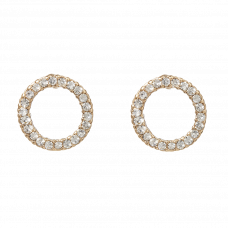 Guldfarvede ørestikker med klare krystaller, Ø 1,2 cm