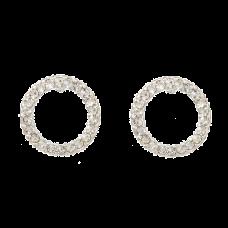 Sølvfarvede ørestikker med klare krystaller, Ø 1,2 cm
