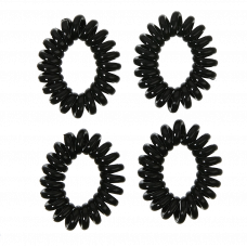 Sorte spiralelastikker, Ø 4 cm, 4 stk.