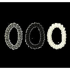Dyreprint-, sorte og transparente spiralelastikker, Ø 7 cm, 3 stk.