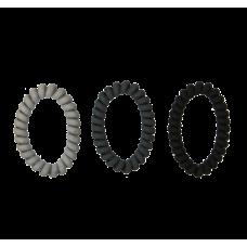 Lysegrå, mørkegrå og sorte spiralelastikker i mat, Ø 7 cm, 3 stk.