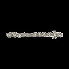 Sølvfarvet hårspænde med sten, 8 cm