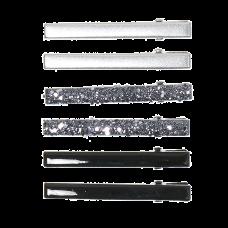 Sorte og sølvfarvede hårklemmer med glimmer, 6 stk., 5 cm
