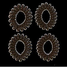 Brune spiralelastikker, Ø 5 cm, 4 stk.