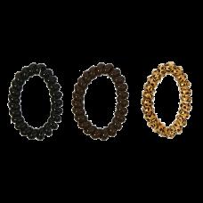 Sorte, brune og dyreprint-spiralelastikker i dyreprint, Ø 7 cm, 3 stk.