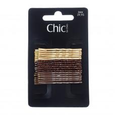 Brune og guldfarvede hårnåle med glimmer, 18 stk., 5 cm