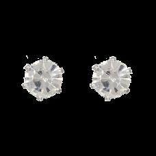 Sølvfarvede ørestikker med klare krystaller, Ø 0,6 cm