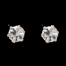 Guldfarvede ørestikker med klare krystaller, Ø 0,6 cm