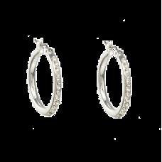 Sølvfarvede creoler med klare krystaller, Ø 2,7 cm