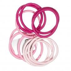 Lyserøde elastikker i forskellige nuancer, Ø 7 cm, 12 stk.