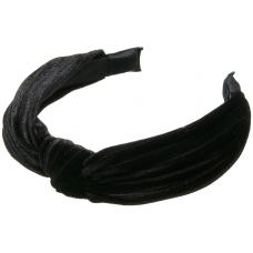 Sort hårbøjle i crepe velour