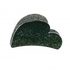 Mørkegrøn hjerteformet hårklemme i akryl, 7 cm