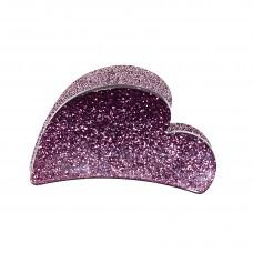 Violet hjerteformet hårklemme i akryl, 7 cm