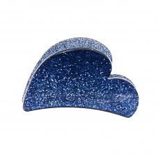 Havblå hjerteformet hårklemme i akryl, 7 cm