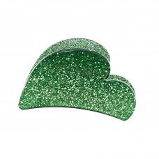 Græsgrøn hjerteformet hårklemme i akryl, 7 cm
