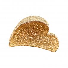 Guldfarvet hjerteformet hårklemme i akryl, 7 cm