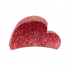 Rød hjerteformet hårklemme i akryl, 7 cm