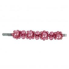 Rosafarvet hårnål med perler, 8,7 cm