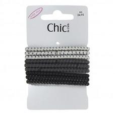 Lysegrå, grå og sorte elastikker, Ø 6,7, 9 stk.