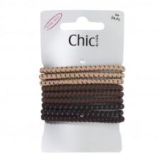 Beige, brune og mørkebrune elastikker, Ø 6,7, 9 stk.