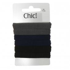 Grå, blå og sorte elastikker, Ø 6,7 cm, 6 stk.