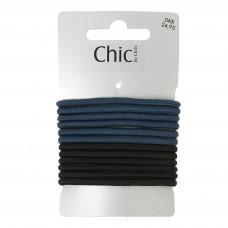Petroleumsblå og sorte elastikker, Ø 7 cm, 12 stk.