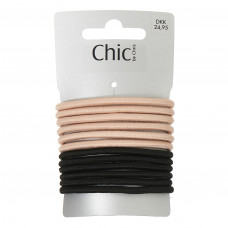 Pudderfarvede og sorte elastikker, Ø 7 cm, 12 stk.